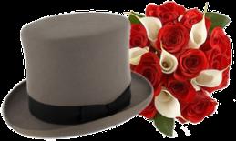 Cilindro sposo e bouquet di rose per sposa