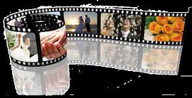 Pellicola cinematografica con scene di matrimonio